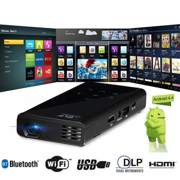 E06S 120LM 854 x 480 Pixels Android4.4.2 DLP WiFi Bluetooth Projector - 1GB RAM 4GB ROM