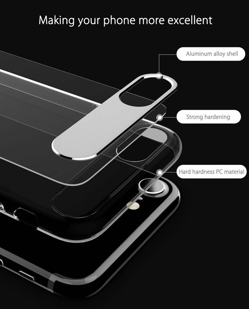 Mcdodo PC - 358 Sharp Series Ultra Thin Aluminum Alloy + PC Cover Case for iPhone 7 Plus