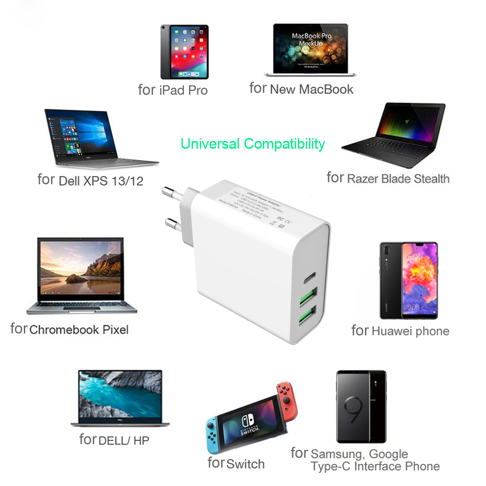 Cwxuan 60W USB C PD Power Adapter Type C with 3 Port USB Wall Fast Charger